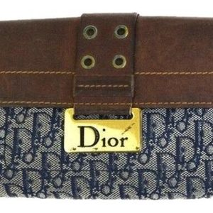 DIOR Trotter Logo Print Canvas Brown w Gold Accent